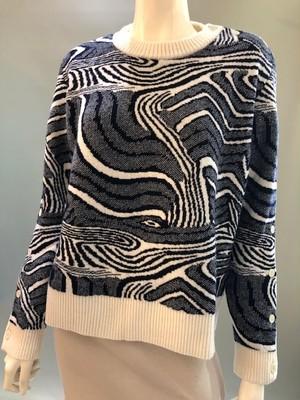 Pierre-Louis Mascia クルーネックニットセーター PBL015/Bianco/Blu