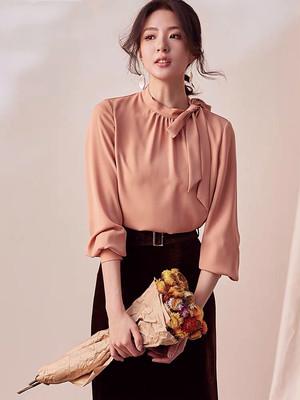 【トップス】気質リードシャツ女性2020年春新知OLシャツシンプル無地シャツ09999