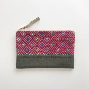 カレン族ミニクラッチ 手織りピンク