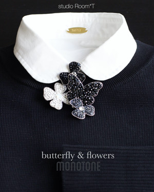 【brooch】butterfly&two flowers monotone color