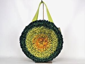 お花ラウンドバッグ:グリーン 着物リメイク リネンバッグ 送料無料 1808B03