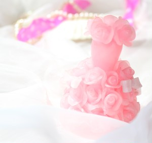 ミニバラのドレスキャンドル