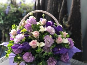 【生花】冠婚葬祭 手付きバスケットフラワーアレンジメント