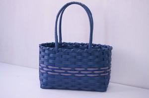 長財布も入るミニかごバッグ(藍色、ネイビー色)