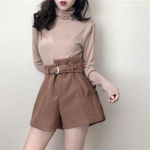 【ボトムス】韓流ファッションchicハイウエスト着やせショートパンツ