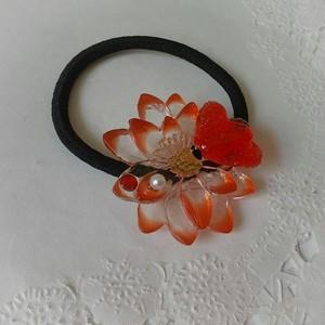 お花と蝶のヘアゴム