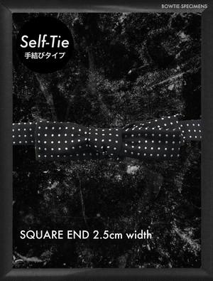 復刻 スクエアエンド 2.5センチ幅 (ブラック/ホワイトドット) 手結び 蝶ネクタイ