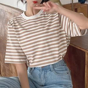 【トップス】カジュアルラウンドネックプルオーバーストライプ柄Tシャツ