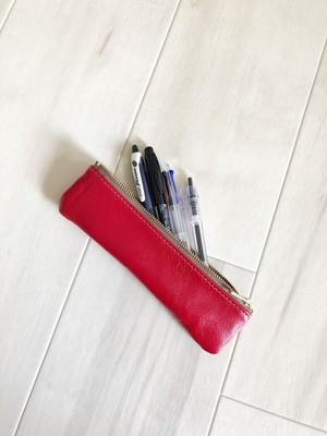 深紅の革小物 スリム ペンケース 本革 レザー レッド