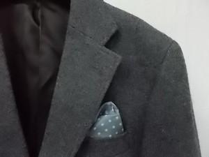 BENSALINA グレー系無地 シングル2釦テーラードジャケット 胸ポケットチーフ風裏地 総裏 Mサイズ★タグ付新品 しつけ糸付 メンズ