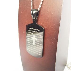 クロス ドッグタグ DOG TAG バイブル 聖書 十字架 黒 ブラック プレート ネックレス 1234