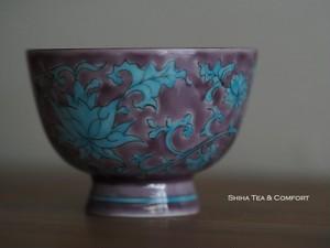 Senchado Porcelain Purple & Blue Hand Painting Teacup from Kyoto, Japan (6pcs)