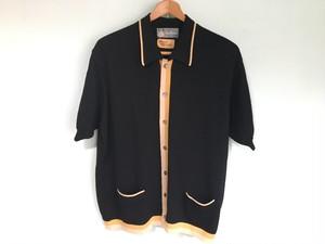 イタリア製 ビンテージ ライン入 ニットシャツ フロントボタン 50s 60s OLD / マフィア ギャング