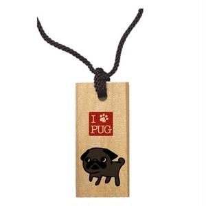 I LOVE PUG 木札【ブラック】
