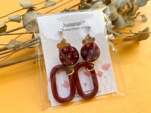 【hanaruri*】99 刺繍イヤリング オーバルリング(ボルドー)