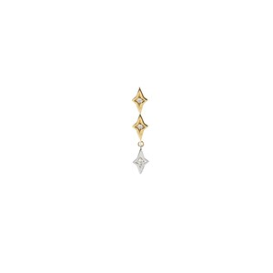 2 Colors Star Single Earring S