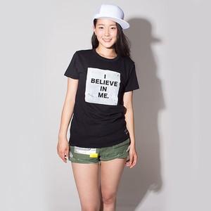 """プリントTシャツ""""I BELIEVE IN ME.""""(ブラック) / F.r.W.D"""