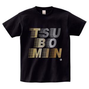 TSUBOMIN / FLOWING LOGO T-SHIRT BLACK x GOLD