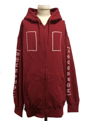 RECTANGLE OVER SIZE ZIP HOODIE -BURGUNDY-