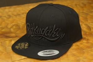RAKUGAKI Main logo Snap Back Cap Black x Black
