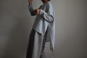 2way プルオーバー / ワイドスクエアー ハーフスリーブ/ ウール【 ブルーグリーン 】ボートネック サイドスリット 裾バルーン  /  wide square half sleeve pullover / wool knit【 blue green 】boat neck side slit balloon