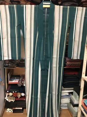 【Sold】アンティーク夏着物 緑ストライプ