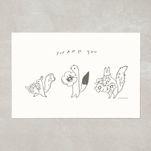 Thank you postcard ちいさな3人組