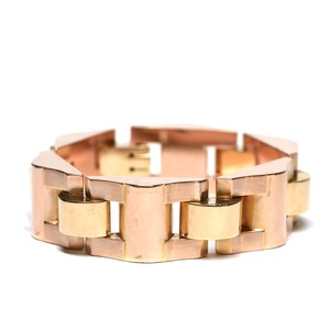 French 40's Collector Vintage 18k Gold Tank Bracelet