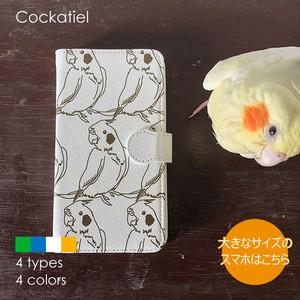 手帳型スマホケース(大きめサイズ)/ オカメインコ
