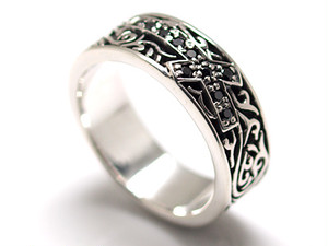 新品*7~23号*ジルコニア×クロスパルメットシルバー925リング*銀指輪*9サイズ