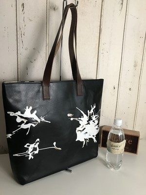 black leather bag  / crane(丹頂鶴)