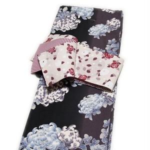 着物2点セット 洗えるプレタ小紋と半幅帯(菊柄 ブラック系 袷 Lサイズ) [010772]