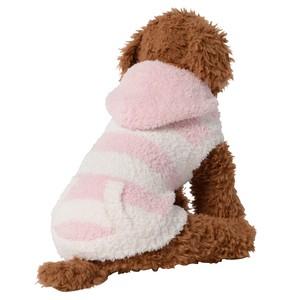 【送料無料】  犬服(ドッグウェア) ペット服 ふわふわニット パーカー ボーダー ピンク