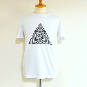 Triangle Print Crew Neck T-shirts Whie