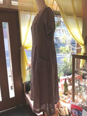 リネン ラウンドネックドレス