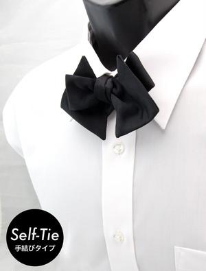 トライアングル(三角形) ブラックサテン/ソリッド 手結び 蝶ネクタイ