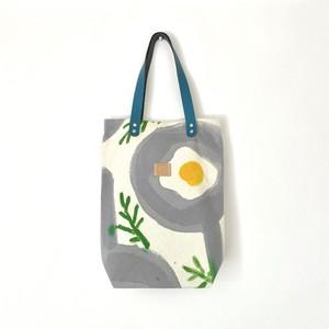 手染めのキャンバストートバッグ 縦型 / fried egg