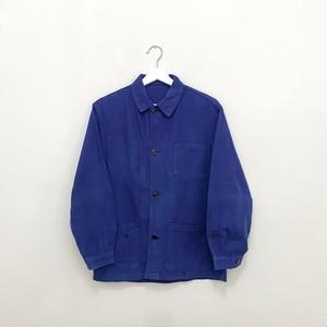 FRANCE 70s~vintage ink blue cotton twill work jacket