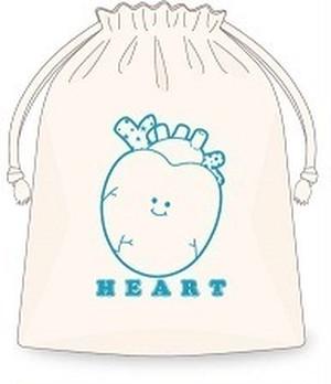 Heart巾着/ブルー