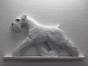 木彫りのドアトッパ-【シュナウザ- ホワイト】