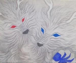 銀色の二人の龍の絵 アクリル画