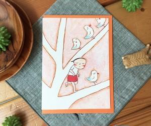 CLマルチカード 少女と鳥と木