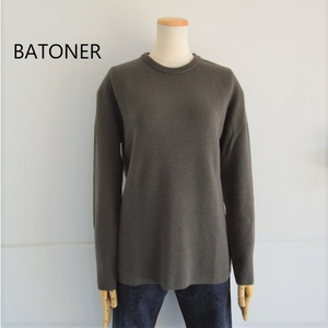 BATONER/バトナー・cashmere solo structured crew neck