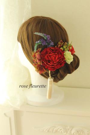 ピオニーの髪飾り(赤)