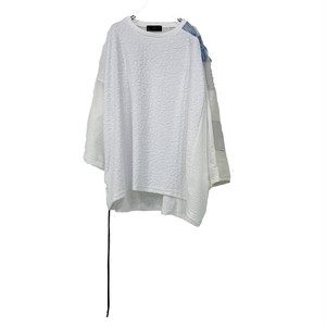 【オーダー受付中】Wide-T-shirts mut(white/inbi blue)