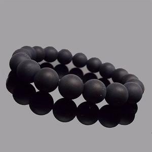 天然石 ブレスレット フロストオニキス 黒瑪瑙 艶消