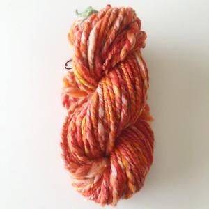【手紡ぎ糸21-09】はじけるオレンジ --- 双糸