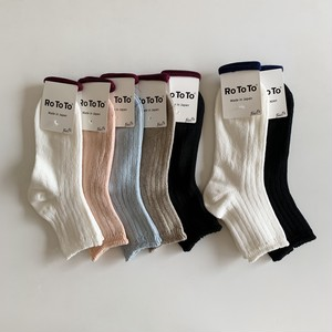 LINEN COTTON RIB SOCKS MIDDLE | RoToTo