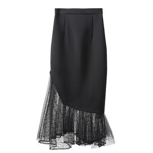elegant マーメイド裾デザインスカート c3846