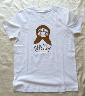 コンニチハ  Tシャツ・茶・レディスMサイズ